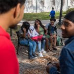 Students hanging out outside Williams Hall at Dillard, a historically black university in New Orleans